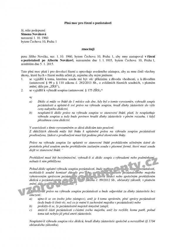 74b3aaf4c Plná moc pro řízení o pozůstalosti - vzor s komentářem   Vzorové ...