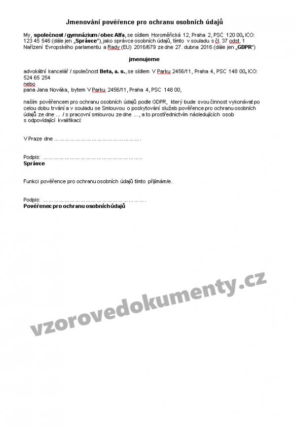 859ff3a55 Balíček 8 základních dokumentů ke GDPR - obecný   Vzorové dokumenty